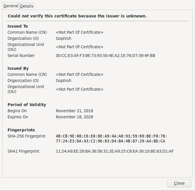Hackback - GoPhish SSL Certificate