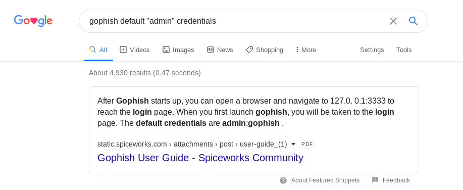Hackback - GoPhish Login Credential Search